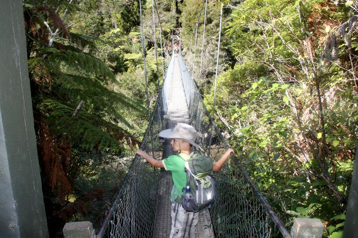 58GradNord Abel Tasman Mit Kindern wandern Hängebrücke