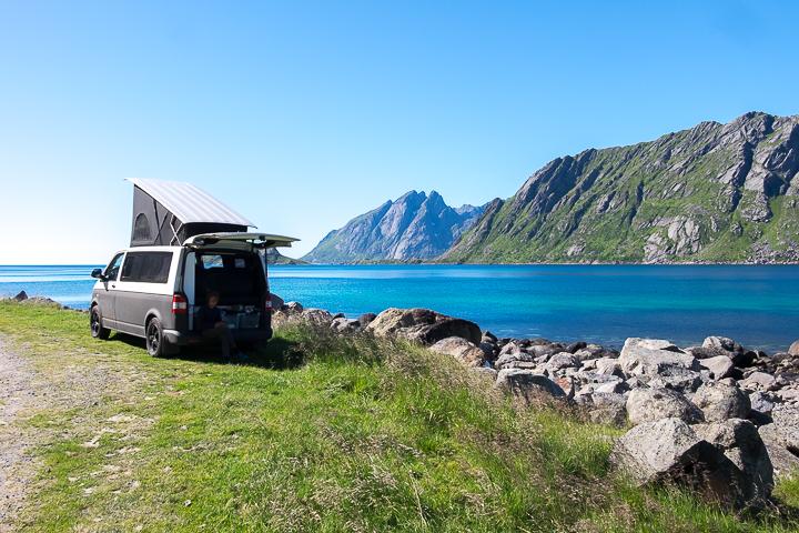 58GradNord - Mit Kindern wandern Nordnorwegen Lofoten - Campingspot Skelfjord