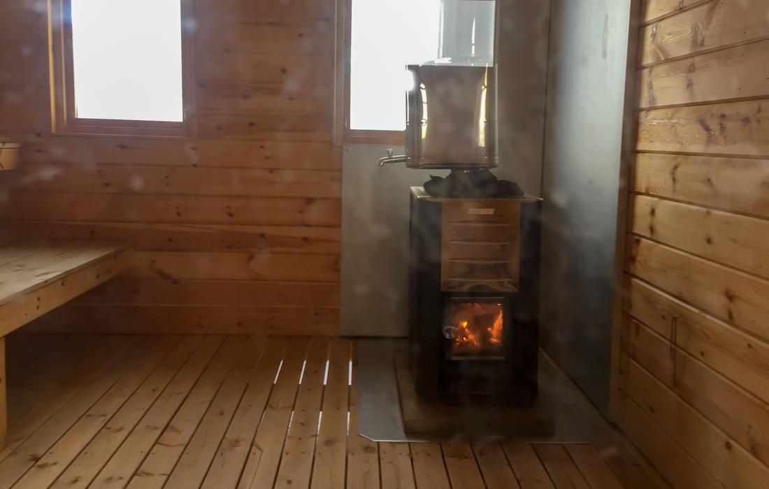 58 Grad Nord -Skiwandern mit Kindern in Lappland - Sauna - bastu