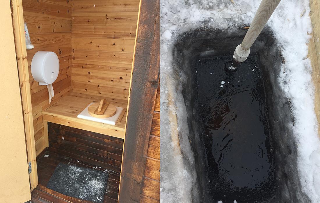 58 Grad Nord -Skiwandern mit Kindern in Lappland - Plumpsklo